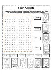 English Worksheets: Farm Animals Crossword