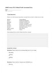 English Worksheet: American Culture Learning Needs/Assessment