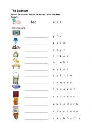 The bedroom - Scramble worksheet