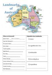 English Worksheet: Landmarks of Australia