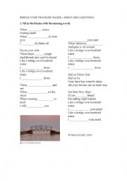 English Worksheet: Bridge Over Troubled Water - song worksheet (simple gap-fill)