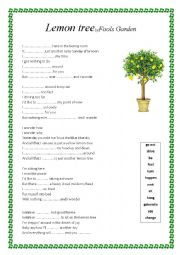 English Worksheet: Lemon Tree lyrics worksheet