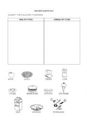 English worksheets: Healthy vs Unhealthy Food
