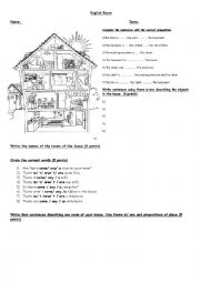 English Worksheet: Describing the house with prepositions of place