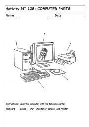 English Worksheet: COMPUTER PARTS No 128