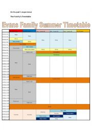 English Worksheet: An Au-pair�s experience - The Family Timetable
