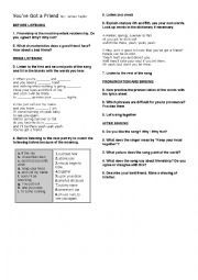 English Worksheet: You´ve got a Friend by James Taylor