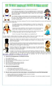 English Worksheet: THE TEN MOST SIGNIFICANT FIGURES IN HUMAN HISTORY