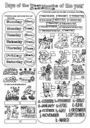 English Worksheet: Months,Days and Seasons