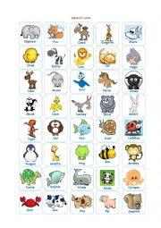 English Worksheet: Animals Memory Game