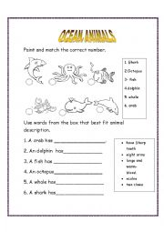 English Worksheet: Ocean animals