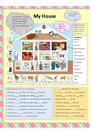 English Worksheet: Rooms of the House and Furnishings ---In, On , At
