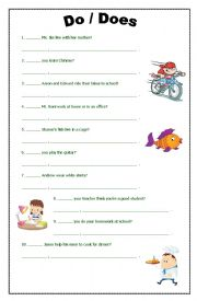 Home > interrogatives worksheets > DO DOES EXERCISE (QUESTIONS ...
