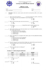 English Worksheet: Commercial cooking exam