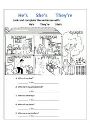 english worksheets pronouns he s she s they re and parts of the house. Black Bedroom Furniture Sets. Home Design Ideas