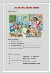 English Worksheet: There was There were
