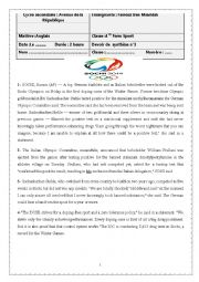 English Worksheet: 4 ème sport /End of Term English test