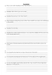 English Worksheet: Pocahontas Viewing Questions