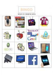 English Worksheet: bingo-means of communication