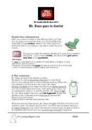 English Worksheet: Mr. Bean goes to the dentist (gap fills)