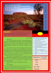 English Worksheet: A letter from Australia (Reading, answering questions and writing a letter)