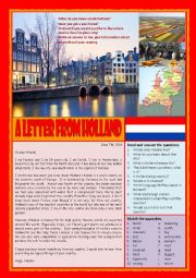 A letter from Holland (Reading, answering questions and writing a letter)