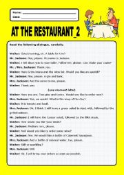 English Worksheet: At the restaurant:2