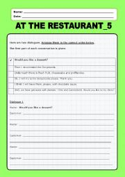 English Worksheet: At the restaurant:5