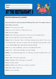 English Worksheet: At the restaurant:6