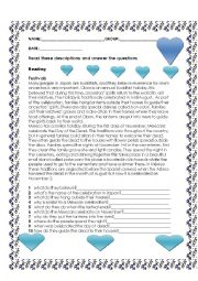 English Worksheet: teading about festival in Japan and Mexico