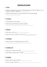 English Worksheet: Canadian Symbols Scavenger Hunt