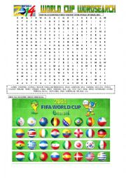 English Worksheet: BRAZIL 2014: COUNTRIES & FLAGS
