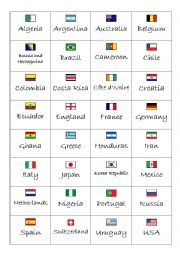 English Worksheet: World Cup 2014 - Country/Nationality Flash Cards (front and back)
