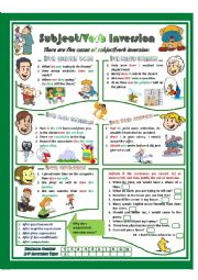 English Worksheet: Subject-Verb Inversion