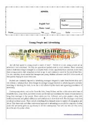 English Worksheet: Young People and Advertising