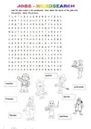 English Worksheet: Jobs - wordsearch, matching