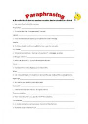 English Worksheet: paraphrasing