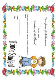 Certificate of Achivement for Boys