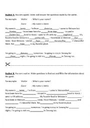 English Worksheet: Small talk Information Gap