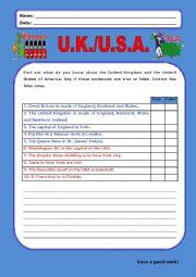 English Worksheet: United Kingdom/United States of America:1