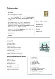 English worksheet: Writing a postcard - BEGINNERS