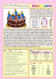 English Worksheet: AMAZING STORIES The Nude Birthday Party (Easy Reader + Voca and Ex) 2/…
