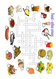 English Worksheet: FOOD - puzzle (answer key included)