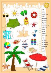 English Worksheet: At the beach - matching