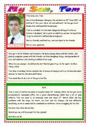 English Worksheet: My Son, Tom