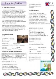 English Worksheet: Song - La la la - Shakira