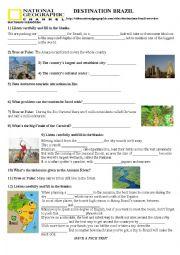 English Worksheet: Video National Geographic - Destination Brazil