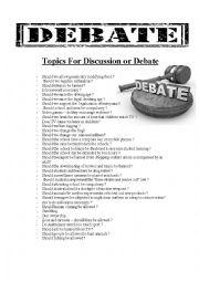 English Worksheet: Debate Topics