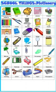 English Worksheet: School things , pictionary