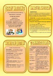 English Worksheet: ESSAY  WRITING  CARDS.